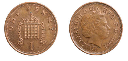 one penny coin isolated on white background