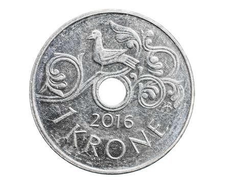 one Danish krone coin isolated on white background Reklamní fotografie