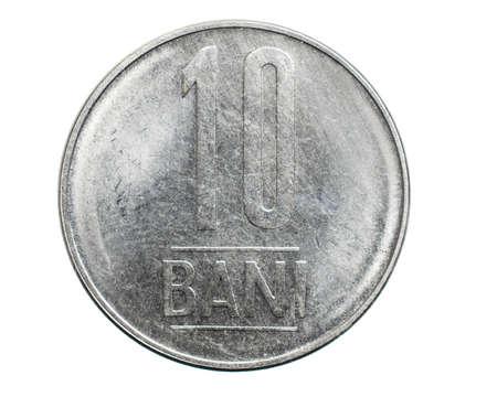 ten Romanian bani coin isolated on white background