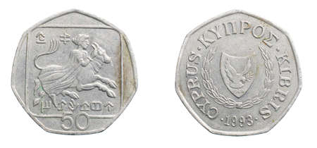 fifty cyprus money on a white isolated background