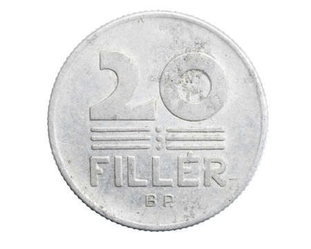 twenty hungary coin filler on white isolated background