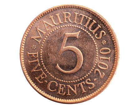 Mauritius five cents coin on a white isolated background