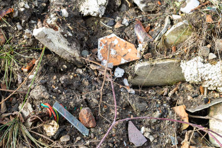 wild garbage dump. residual glass, plastics in the forest