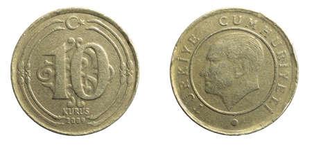 A turkey ten kurus coin on a white isolated background