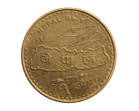 Nepal one rupee coin on a white isolated background
