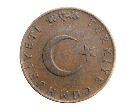 Turkey ten kurus on a white isolated background