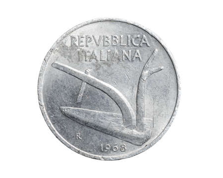 Italy ten lira coin on a white isolated background