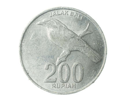 Indonesia two hundred rupiah coin on a white isolated background