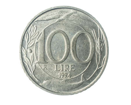 Italy 100 lire coin on a white isolated background