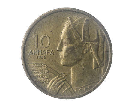 Yugoslavia ten dinara coin on a white isolated background Standard-Bild