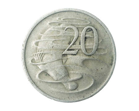 Australia twenty cents coin on a white isolated background