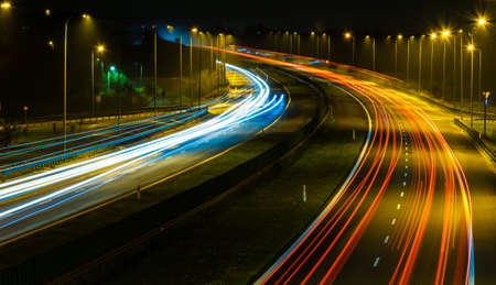 lights of cars with night. long exposure