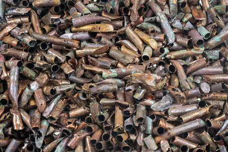 fine copper scrap with visible details. background Standard-Bild