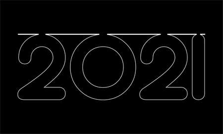 Simple style lines happy new year 2021 black white theme. Vector illustration., black background