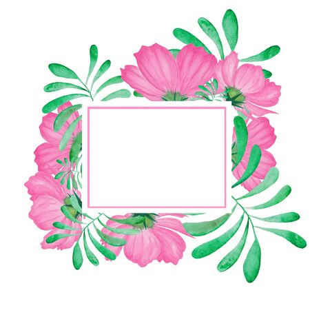 Watercolor frame of pink flower with leaves. Abstract flowers and leaves for spa, relax, holiday. Arrangement perfectly for printing design on invitations, cards, wall art and other. Hand painted