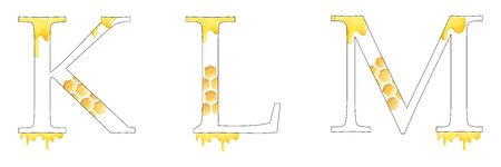 English alphabet. Letters K L M. Monogram with  design - drops of honey, honeycomb. Isolated on white background. Hand painting illustration. Font for design, greeting cards and other. Stok Fotoğraf