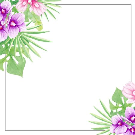 Watercolor Tropical frame. Exotic forest greenery herbs, flowers. Hand painting. Elegant tropical design. Perfectly for printing on invitations, cards, menu, other
