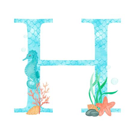 English alphabet Letter H Monogram with watercolor marine design - seahorse seaweed coral starfish. Isolated on white background Hand painting illustration. Font for design greeting cards and other.