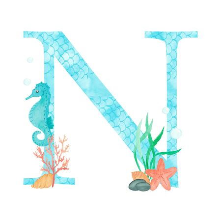 English alphabet Letter N Monogram with watercolor marine design - seahorse seaweed coral starfish. Isolated on white background Hand painting illustration. Font for design greeting cards and other.