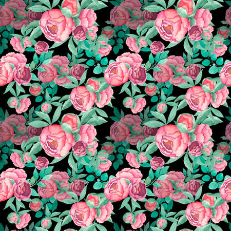 Watercolor seamless pattern bouquet peony flowers with leaves branches of eucalypt isolated on black background. Boho illustration. Hand drawn. Vintage design for fabric, textile, paper, other. Banque d'images