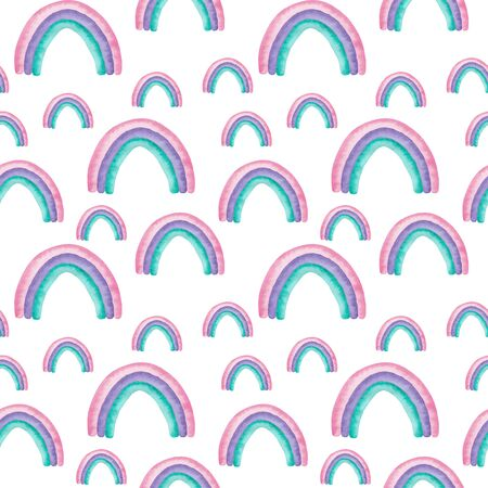 Seamless pattern watercolor rainbows in pink, purple and mint colors isolated on white background Abstract modern illustration Perfect for design nursery fabric textile Card making and other projects.