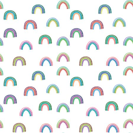Seamless pattern watercolor colorful rainbows Isolated on white background Abstract modern illustration Perfect for design nursery fabric textile Card making and other projects.