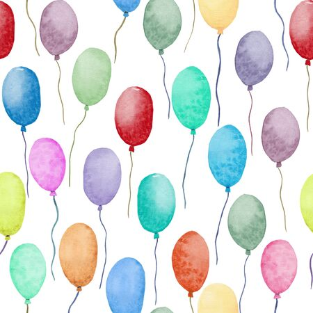 Seamless pattern Watercolor air balloons. Hand drawn. Pack of party colorful balloons isolated on white background. Easy for design paper, textile, fabric, and other.