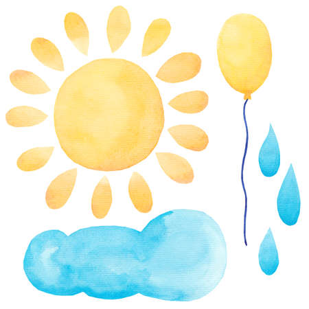 Watercolor set of air balloon, sun cloud, drops of rain. Hand drawn. Set of party blue, yellow isolated on white background. Colorful objects for greeting cards, party, invitation and other designs.