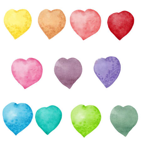 Watercolor rainbow hearts. Hand drawn. Set of party green, pink, blue, yellow, purple, red hearts isolated on white background. Colorful object for greeting cards, invitation and other yours designs. Standard-Bild
