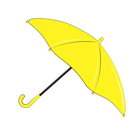 Yellow umbrella isolated on white background. Vector illustration eps 10 of garden tools. Autumn nature symbol, season clothes concept. High resolution. Easy for web design, icon, and printing.