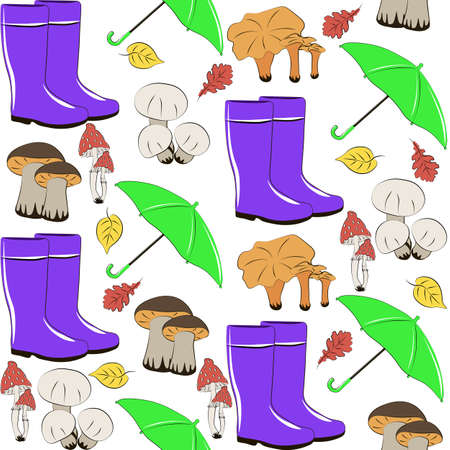 Rubber boots Mushrooms Umbrella isolated on white background. Fall illustration. Seamless pattern. Autumn nature symbol, season clothes concept. High resolution Easy for web design, fabric, printing.