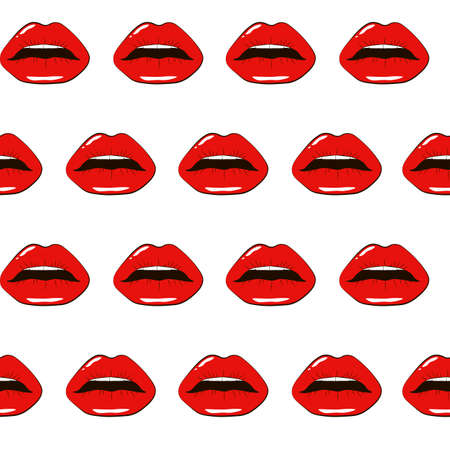Woman red lips isolated on white background. Colorful hand painted romantic texture Fashion illustration for your design cards, holiday wrapping paper, textile and other