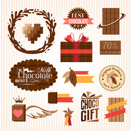 choco: Set of chocolate decorative elements and emblems. Banners, stickers and icons.