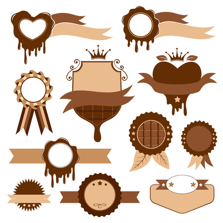 choco: Set of chocolate banners, stickers and badges