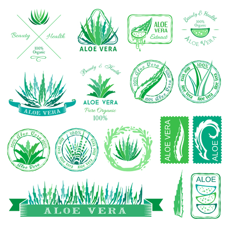 stencil: Aloe vera design elements. Aloe badges, banners, icons and other decorations. Stencil style.