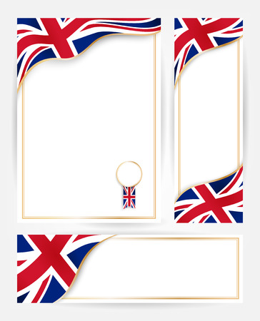 Design templates for flyers, posters, certificates and documents with flag of Great Britain