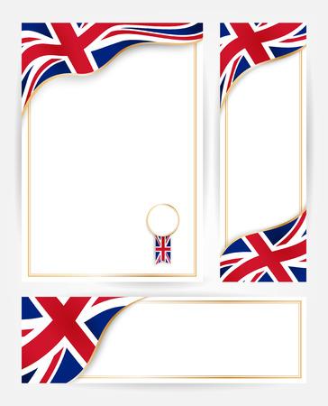 Designvorlagen für Flyer, Plakate, Urkunden und Dokumente mit Flagge von Großbritannien Standard-Bild
