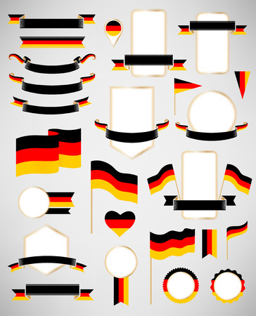 world flag: Banners, labels, ribbons, icons, badges and other vector design element with flag of Germany