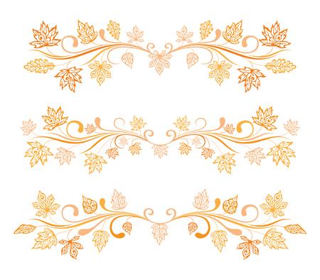 horozontal: Set of decorative horozontal borders with autumn leaves Illustration