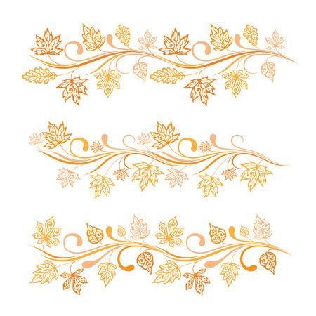 Set of ornamental autumn leaves horizontal borders
