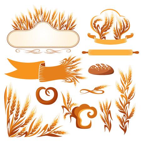 Ensemble de boulangerie décoratifs éléments, des ornements et des icônes.
