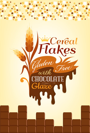 cereal: Cereal flakes with chocolate. Banner for pack design