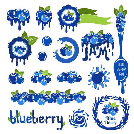 Blueberry Design-Elemente. Satz von Grenzen, Rahmen, Etiketten und andere Elemente aus Heidelbeeren.