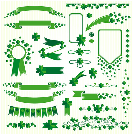 clovers: Clovers design elements set. Vector decorations collection