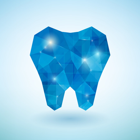 mouth pain: Shiny crystal blue tooth icon. Vector illustration