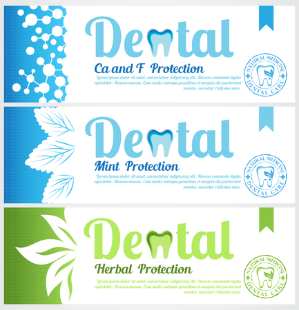 Dental horizontal banners. Set of toothpaste pack labels Stock Illustratie