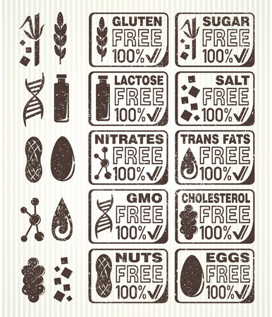 no cholesterol: Diet signs collection. Gluten free, lactose free, sugar free, salt free, nuts free, eggs free, nitrates free, cholesterol free, trans fats free, GMO free labels.