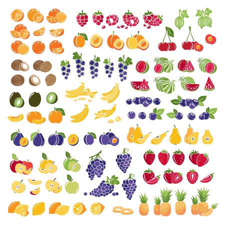 Set von frischen Früchten mit in Scheiben schneiden. Bunte Sammlung von Früchten Symbole. Vektorgrafik
