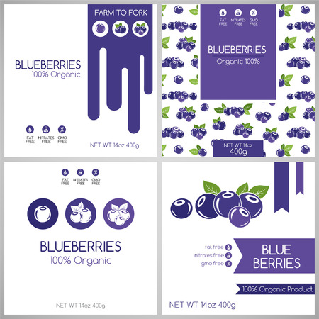 Blueberry labels set. Collection of fruits labels for pack design.