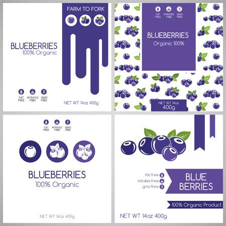 etiquetas de arándanos conjunto. Colección de frutas etiquetas para el diseño del envase.